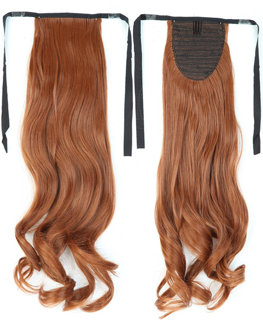 Long Curly Light Auburn Bingding Ponytails 18 Inches Clip on Ponytail Hair Extensions Hairpiece Ribbon Pony Tail Extension