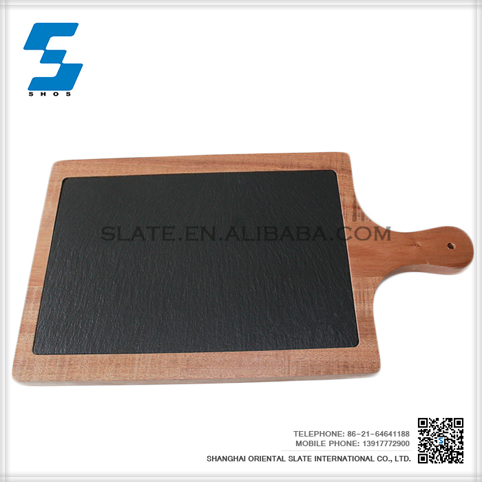 2016 new design natural slate dinner plate with high quality wooden base