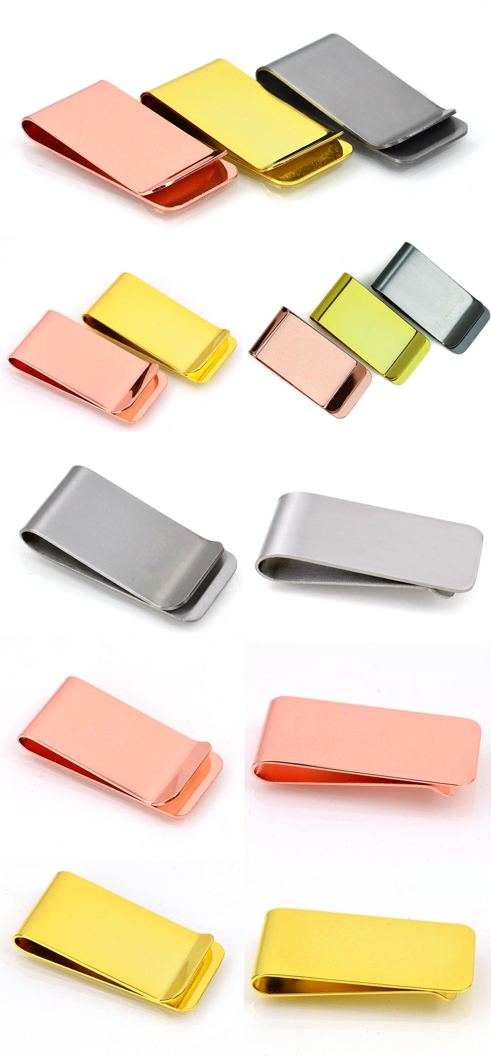 Wholesale promotion gold metal clip blank men money clips with customized logo