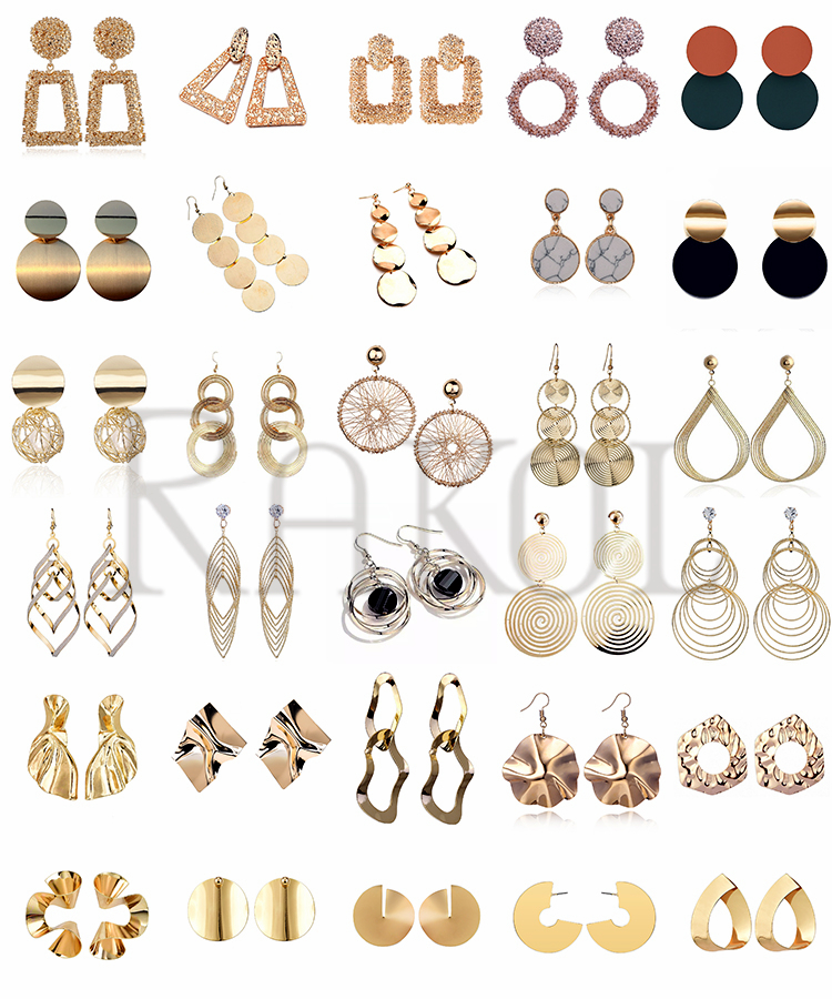 RAKOL Wholesale Top Design Fashion Earrings Jewelry Statement Big Geometric Copper Alloy Gold Women Dangle Earring AE122