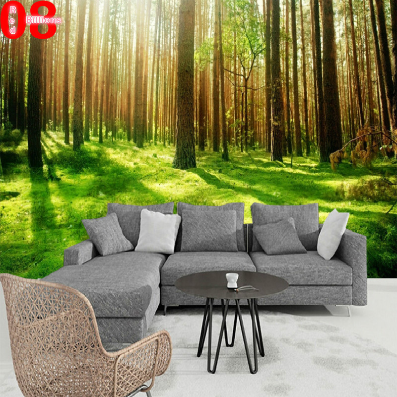 Modern Forest House: Any Size Modern Mural Stereotelevision Wall Wallpaper 3d