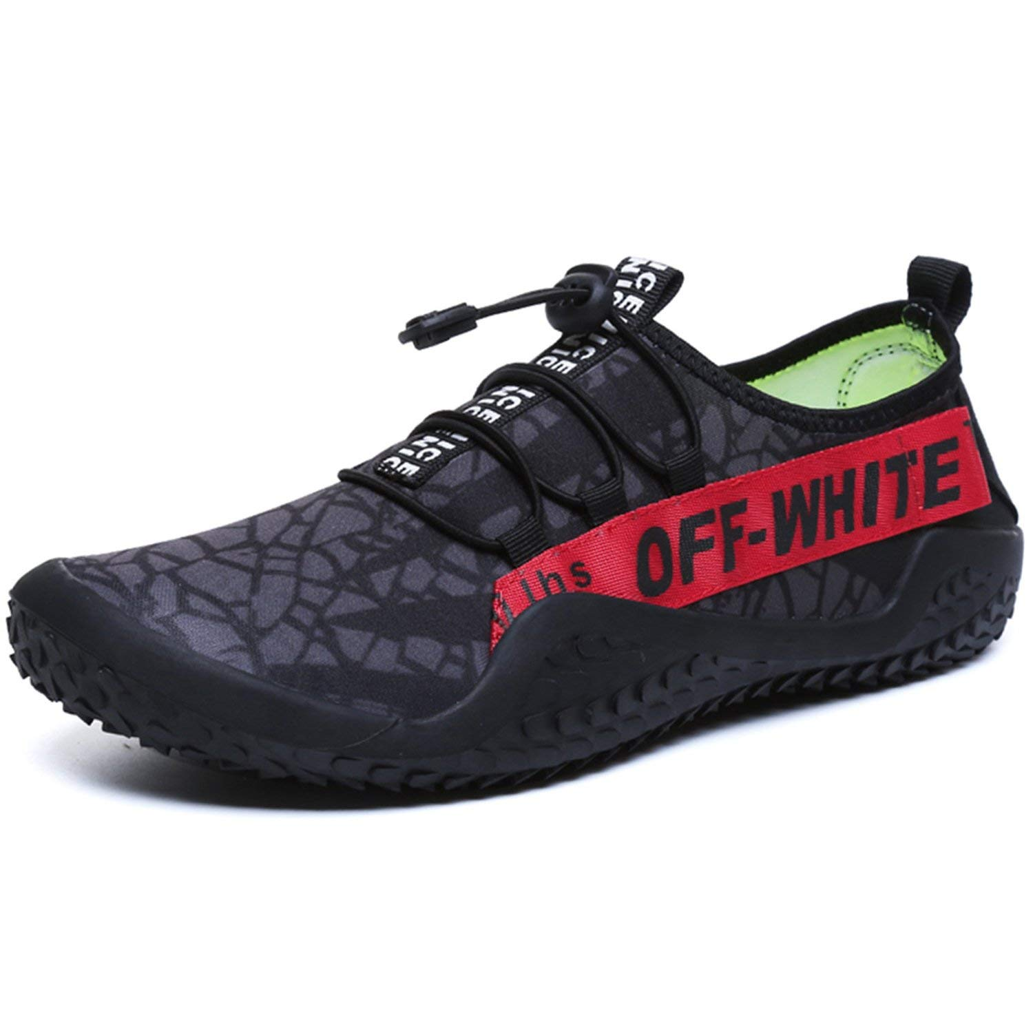 FEETICITY Mens Water Shoes Quick Dry Non-Slip Outdoor Water Beach Swim Sneakers with Drainage Holes