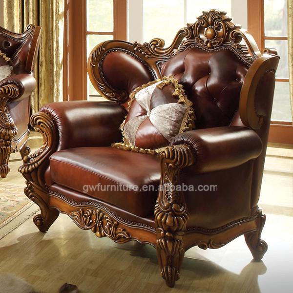 Full Leather Living Room Sofa Furniture Set,Classic Wood
