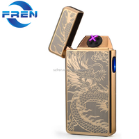 USB Rechargeable Plasma Lighter Flameless Butane Free Windproof Pulse Dual Arc Electric Cigarette Lighter Gold Dragon