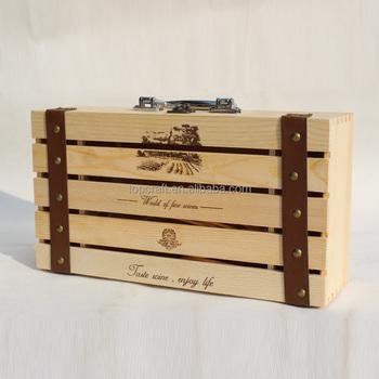 2015 Hand Made New Design Vintage 2 Wine Bottle Travel Storage Box ...