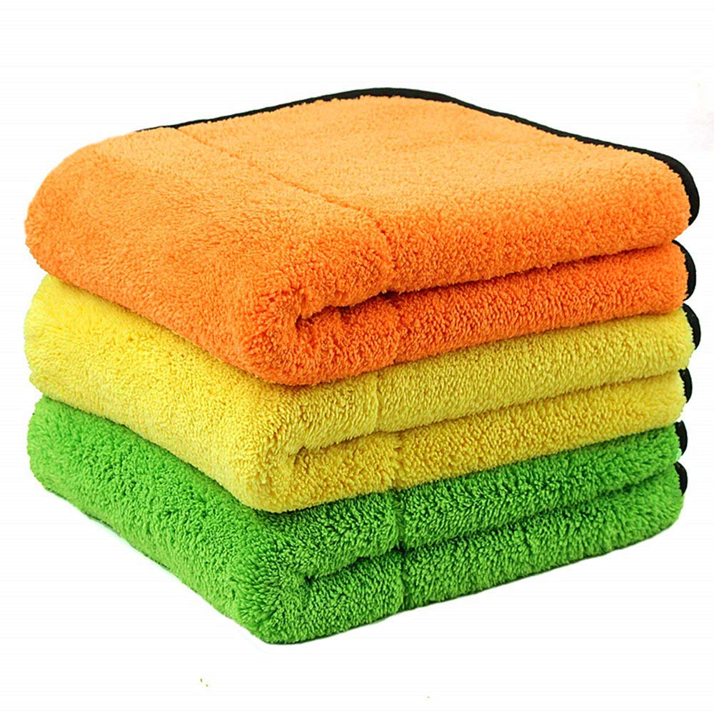"AIVS 850GSM Microfiber Cleaning Cloths, Lint Free Microfiber Dual Layer Ultra-Thick Car Polishing and Drying Cloth Auto Detailing Towels,15"" x 17.7""(3-pack)"