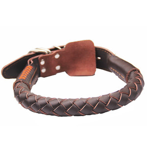 Pet Leather Dog Collar - Rolled Rounded Rope Pet Collar for Medium & Large Dogs