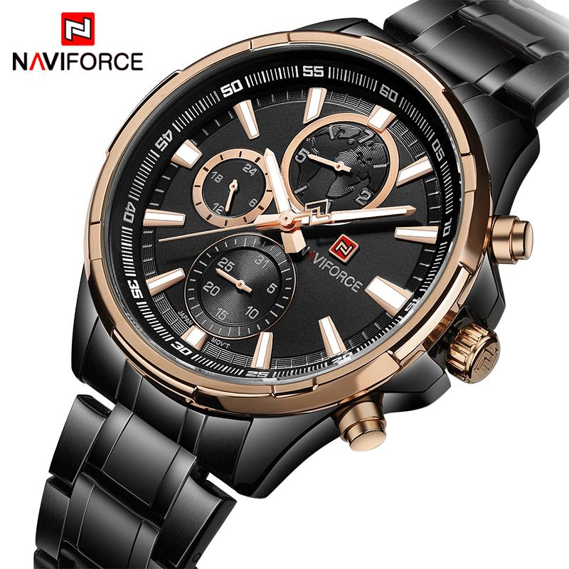 Top Luxury Brand NAVIFORCE 9089 Men's Business Watches Men Quartz 24 Hours Date Clock Man Full Stainless Steel Sports Wrist Watc фото