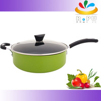 Most popular green alminum deep fry pan induction cookware non stick saute pan with lid