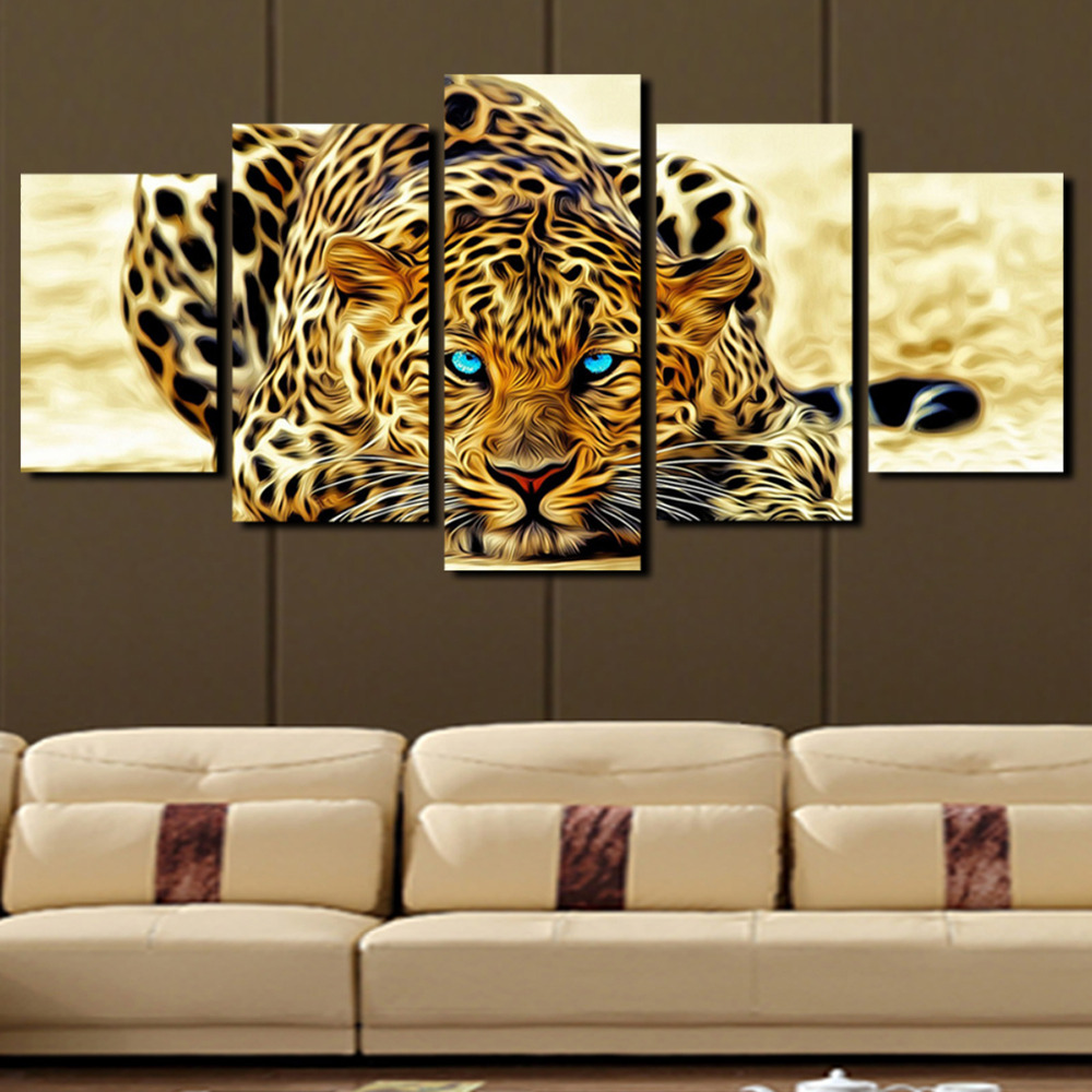 Animal Home Decor: 5 Plane Abstract Leopards Modern Home Decor Wall Art