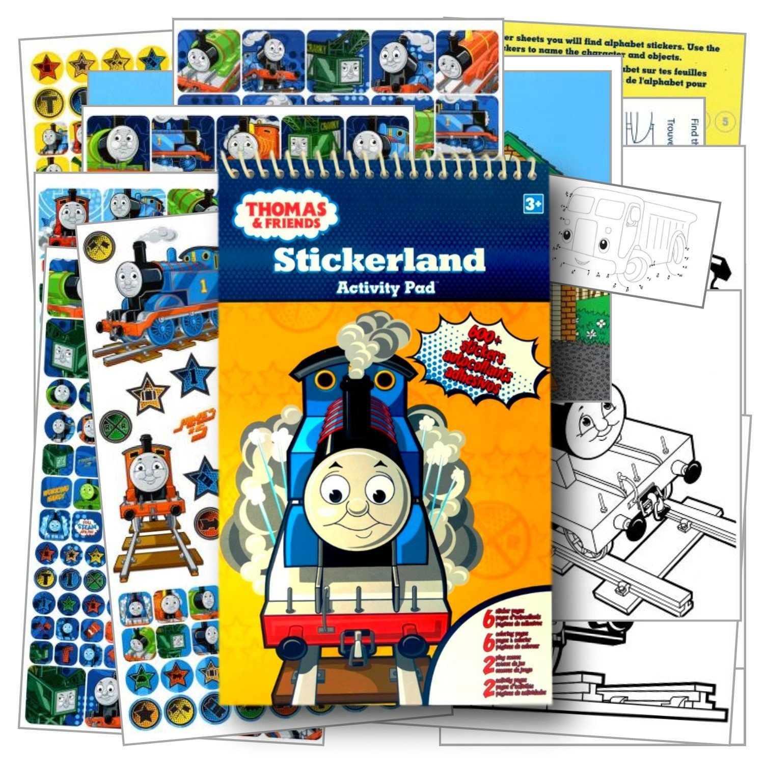 Thomas the Train Stickers Activity Pad with Fun Separately licensed Coloring Sticker ~ Over 600 Stickers, 6 Coloring Book Pages, 2 Play Scenes, & 2 Activity Pages