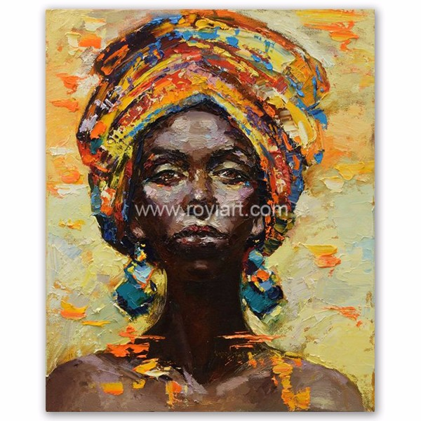 Wholesale High Quality Wall Decoration Canvas Art African Women Portrait Oil Painting