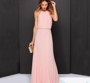 zm60037a Europe and the United States detonation model hung neck pure color chiffon sleeveless dress frock dress.