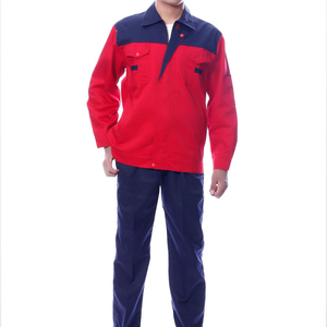 China supplier softly red and dark blue polyester,cotton unisex coverall work wear uniform