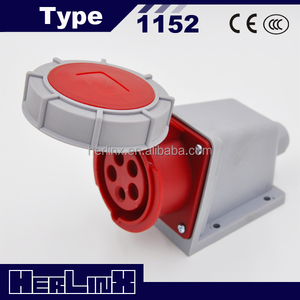 INDUSTRIAL QUICK WATERPROOF CEE POWER WALL SOCKET 1152/1252 16A/32A 400V 3P+N+E IP67