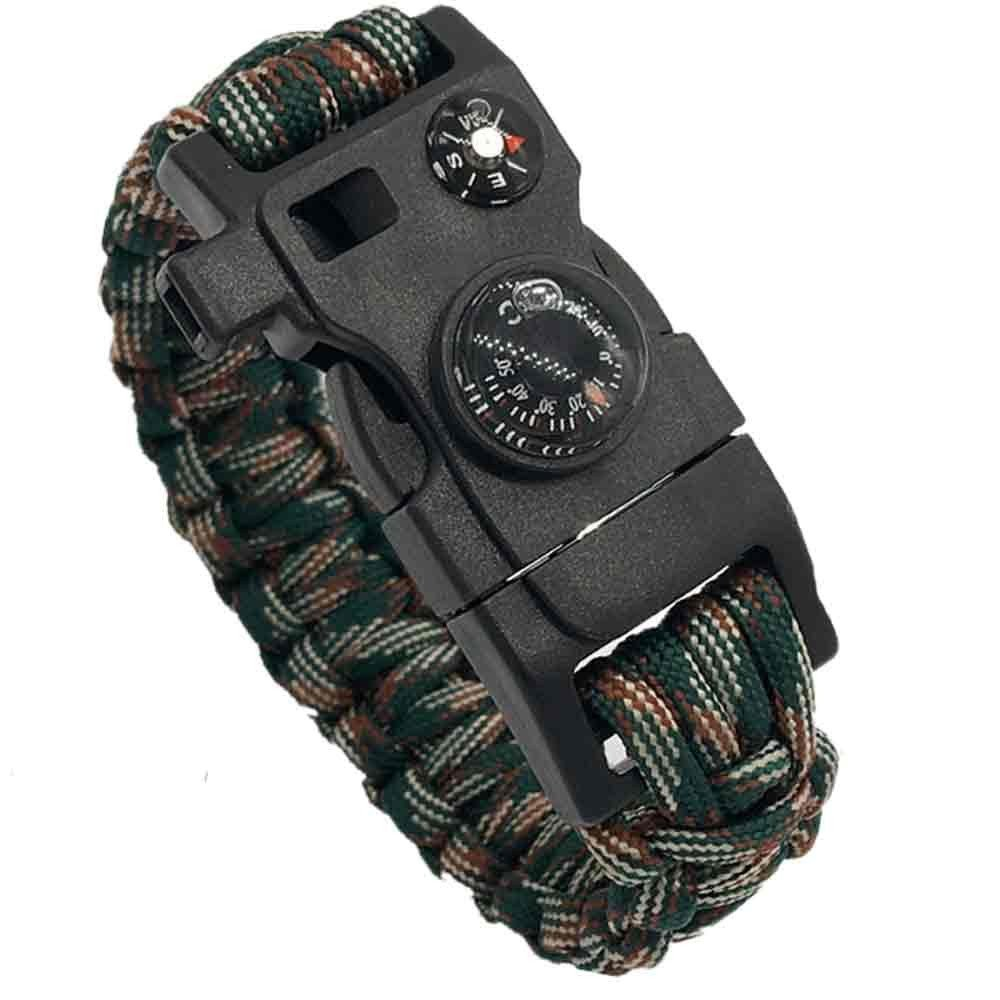 Get Quotations · Multifunctional Paracord Bracelet Survival WRAPS  Adjustable-Size Emergency Paracord Survival Bracelets Buckle Bracelet with  Compass a1e4e0ce79b