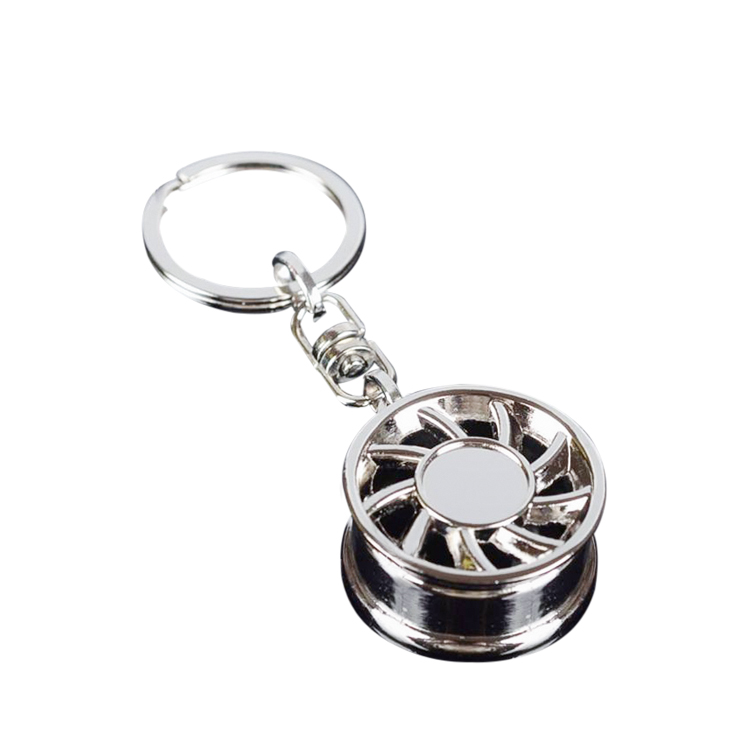 High quality metal material silver color turbo keychain custom turbo keyring for wholesale