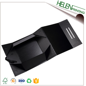 Custom high quality magnetic matte rigid gift black jewelry box