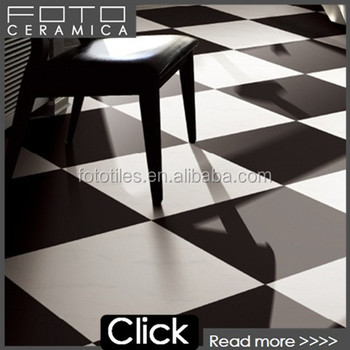 Porcelain Black And White Checkered Floor Tile For Interior Decoration