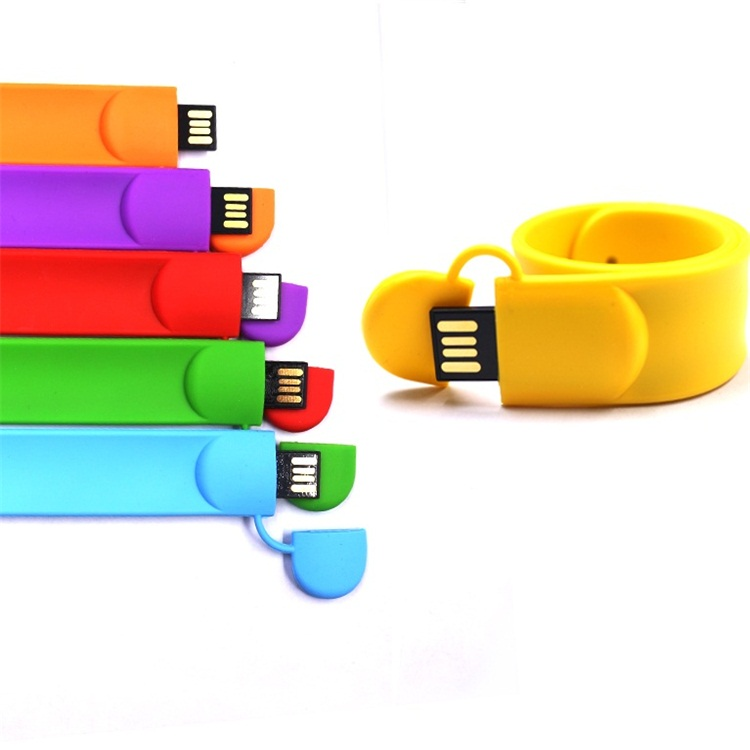 Custom Logo Personalized Usb Flash Memory Drive  4Gb 8Gb 16Gb 32Gb  Real Capacity Slap Silicone Usb Bracelet