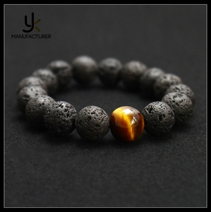 Wholesale Black Volcanic Lava Stone Tiger Eye Beaded Bracelet For Men Fashion Personality Jewelry