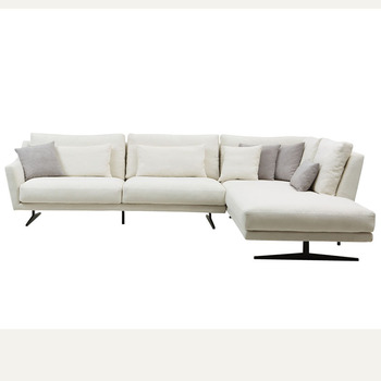 2018 New Comfortable White Fabric Feather Sofa Set For Living Room