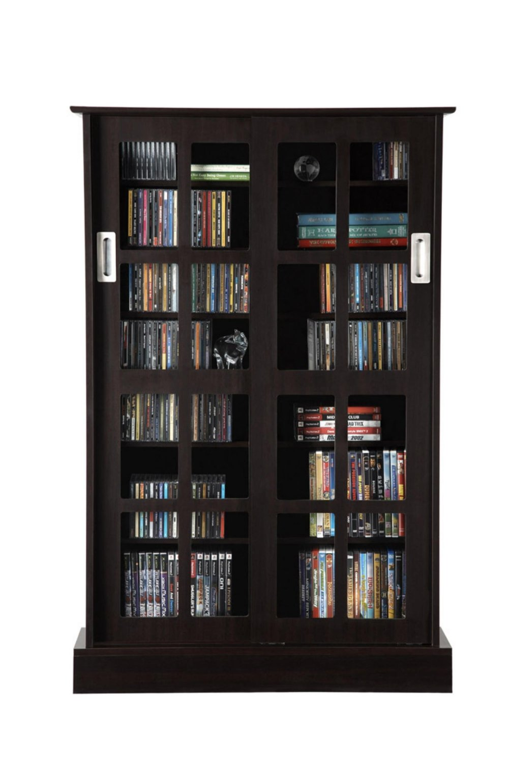 Atlantic 22135624 Windowpane Sliding Glass Door Cabinet, 576 cd/92 DVD, Expresso, P1 (Discontinued by Manufacturer)