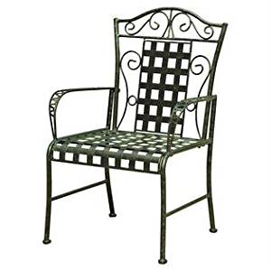 Set of 2 Metal Patio Dining Chairs in Antique Black Finish