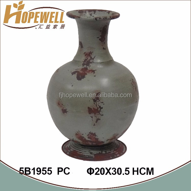high quality rustic metal vase , decoration flower tall vase