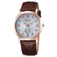W2265 Fashion Genuine leather strap stainless steel case sapphire watch with swiss quartz movement