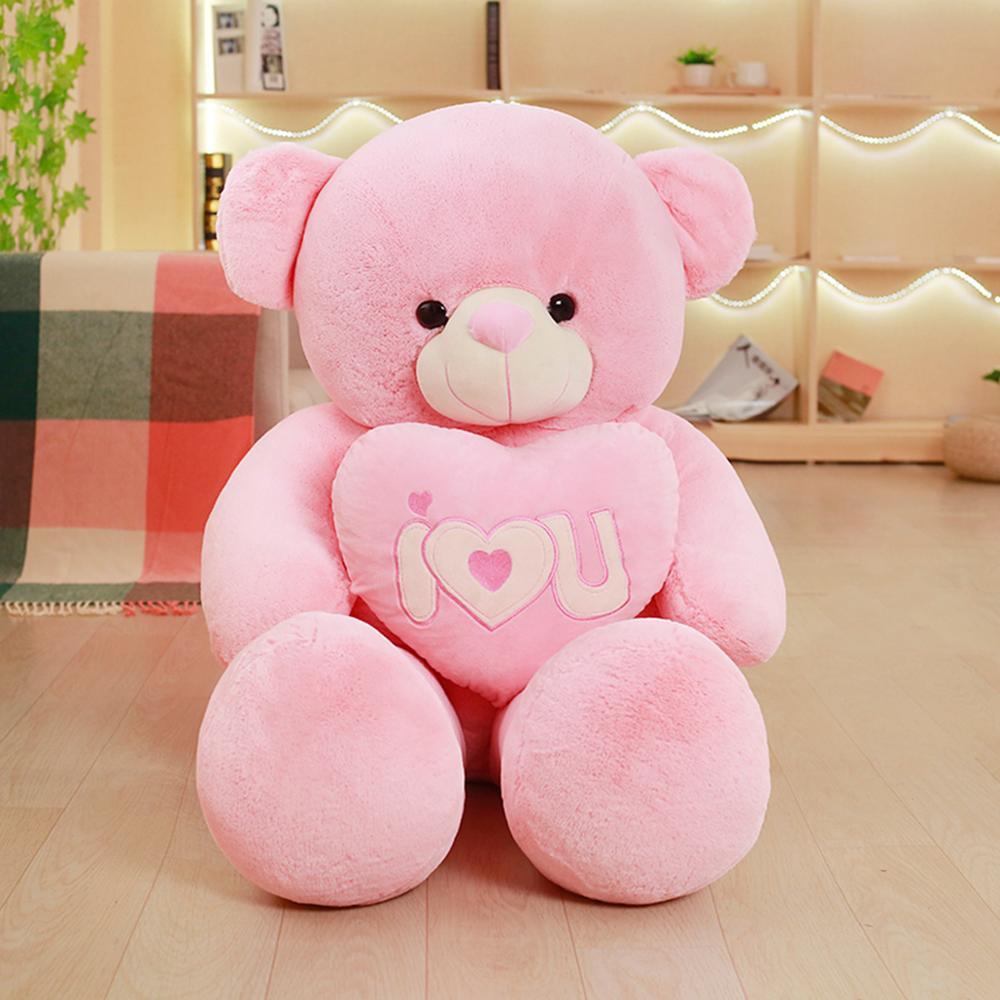 Factory wholesale big teddy bear cute design pink color teddy bear hold  heart plush teddy bear 708280726f