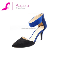 Online wholesale fashion elegant ladies dress shoes black blue suede leather shoes