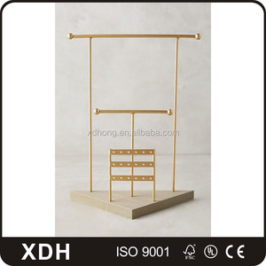 Modern fashion metal gold necklace jewelry display stands