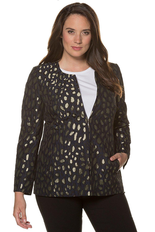 051aee70927 Get Quotations · Ulla Popken Women s Plus Size Leopard Print Jacquard  Jacket 713703