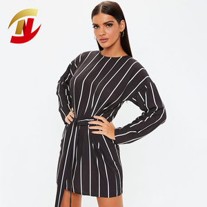 Women OEM Service Full Long Sleeve Sexy Breathable Black Tie Waist Brightly Striped T-Shirt Jersey Dress