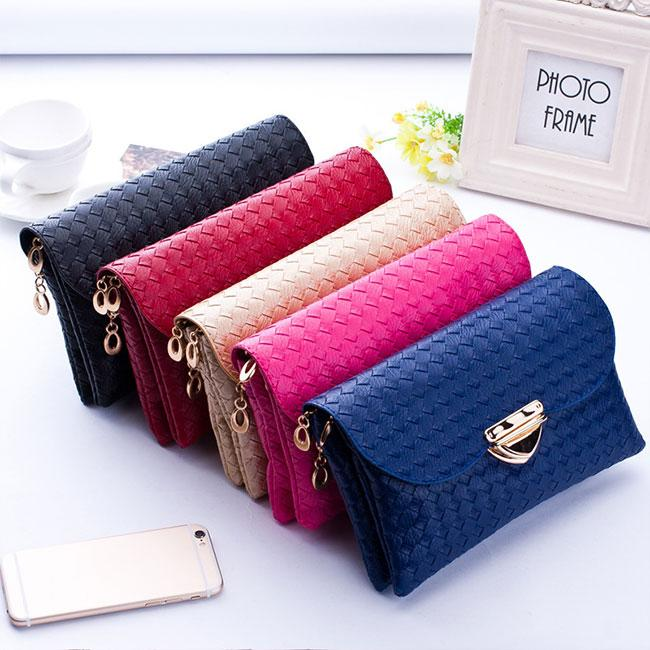 Women's Lady Fashion Weave Handbag Good Selling Wallets Tote Purse Bags White/<strong>Black</strong>/Red/Blue/Rose Red