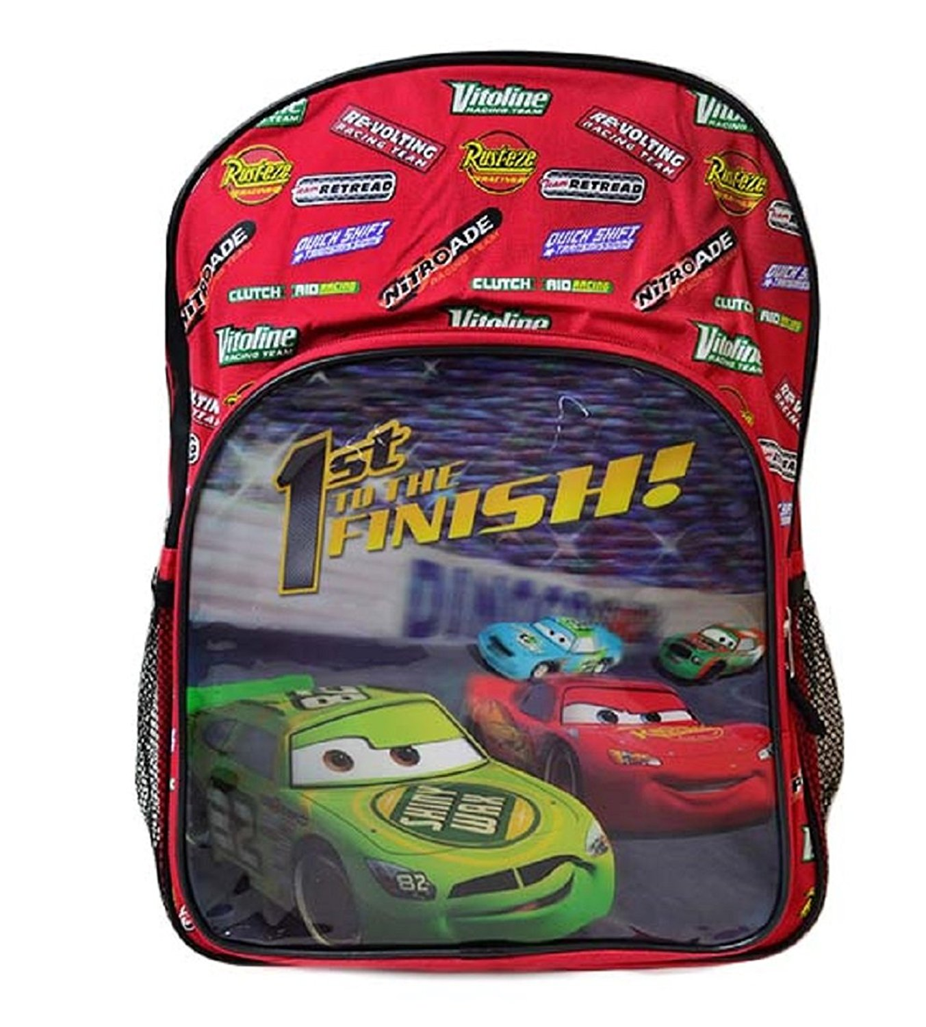 Disney Cars Pixar 1St To The Finish School Boys Backpack Graphic Print 16 Red