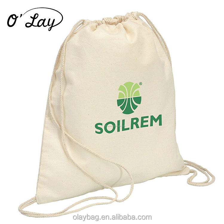 Beautiful trendy canvas linen satin drawstring bag custom logo