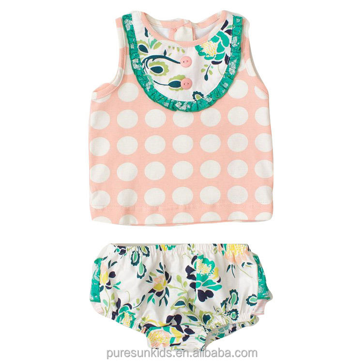 sleeveless summer season toddler girl clothing bloomer sets