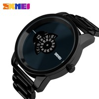 skmei top selling watches men unique design black alloy business man quartz watch for boy