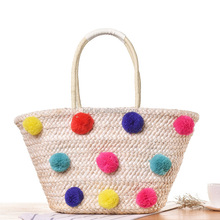 summer straw basket tote bag custom pom pom straw beach bag