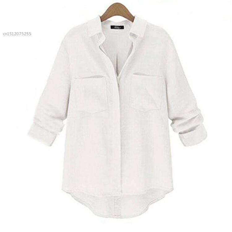 7c08e255 Autunm Women Casual Long Sleeve Linen Blend Button Down Shirt Irregular Hem  Loose Blouse White and