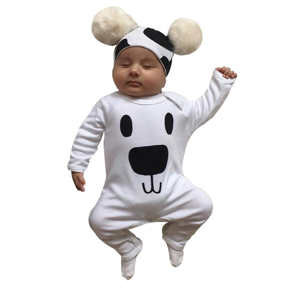 KshionToddler Infant Newborn Baby Girl Boy Haber Cartoon Bear Blouse Romper Jumpsuit+Hat Outfits Set