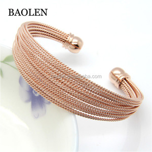 Stainless Steel OL A Lot Of Twisted Wire Bracelet Bangle Gold / Rose Gold / Silver Color Women's Fashion Jewelry