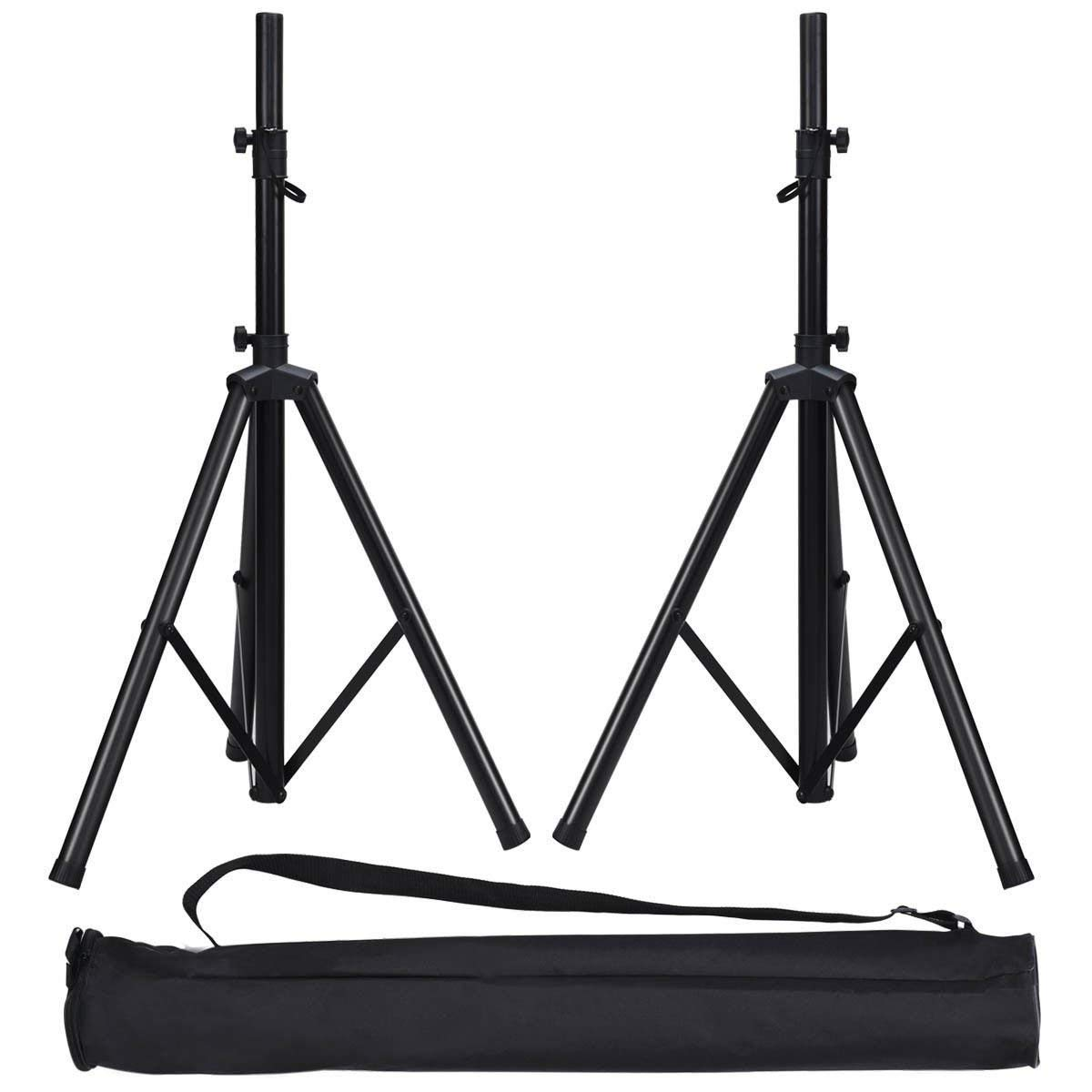 """Picotech Adjustable 28""""-74"""" Speaker Stand Steel Black Durable Heavy Duty Sturdy Portable Expandable Long Tripod 110Lb Weight Capacity Cable Ties Straps Non-slip Feet 2 Carrying Oxford Bags DJs Bands"""