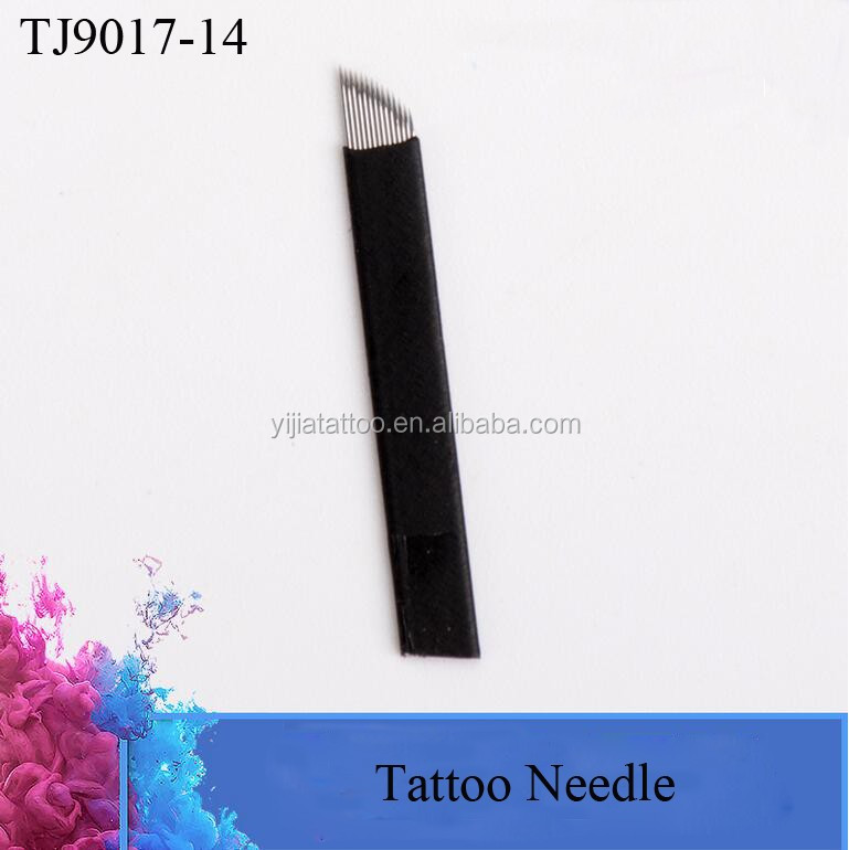Black 14 Pins Eyebrow Micro Oem Tattoo Needle Cartridge Supplier for Tattoo Embroidery