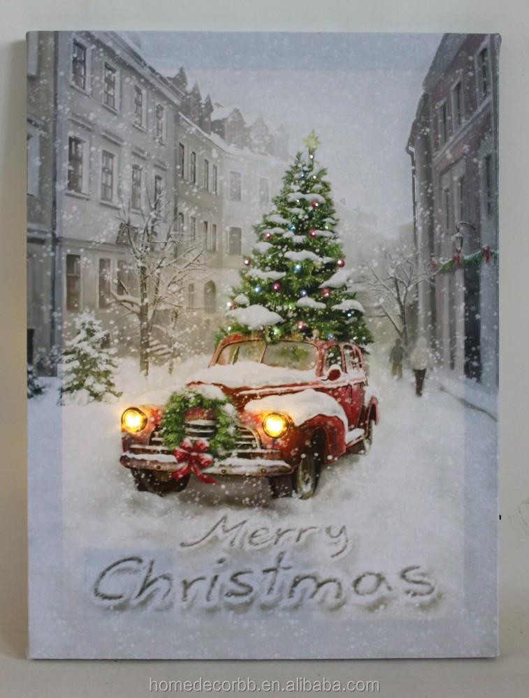 Nieuwste led kerst canvas schilderij met led-verlichting ...