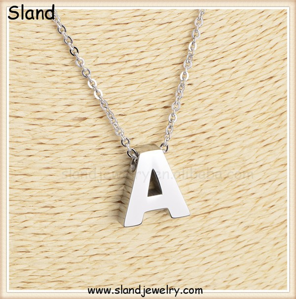 Factory price wholesale high quality surgical grade 316 stainless steel A alphabet pendant necklace initial letter theme jewelry