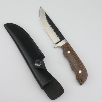 440 blade  Micarta grip, leather sheath, camp and outdoor hunting knife