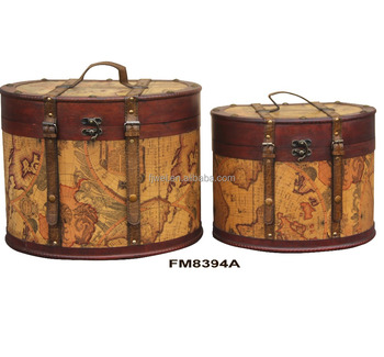 Vintage World Map Oval Storage Boxes